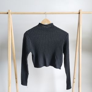 ZAFUL Black Cropped Turtleneck Sweater